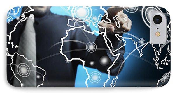 Businessman Touching World Map Screen IPhone Case by Setsiri Silapasuwanchai