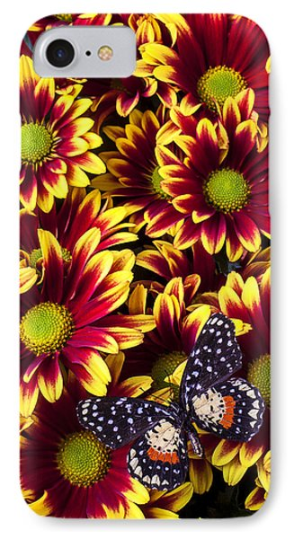 Butterfly On Yellow Red Daises  Phone Case by Garry Gay