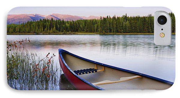 Canoe And Boya Lake At Sunset, Boya Phone Case by Yves Marcoux