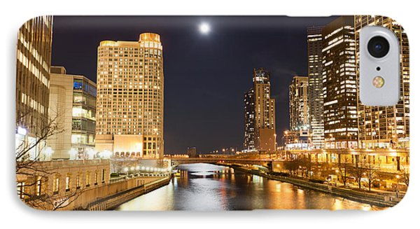 Chicago At Night At Columbus Drive Bridge Phone Case by Paul Velgos