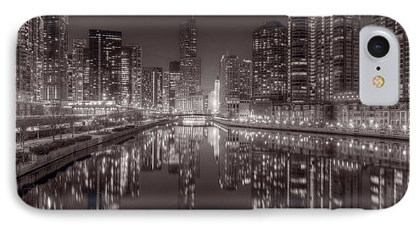 Chicago River East Bw Phone Case by Steve Gadomski