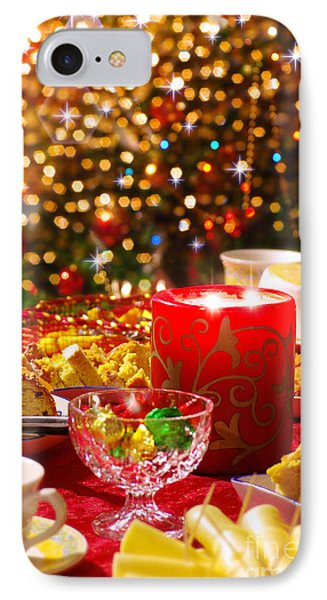 Christmas Table Set IPhone Case by Carlos Caetano