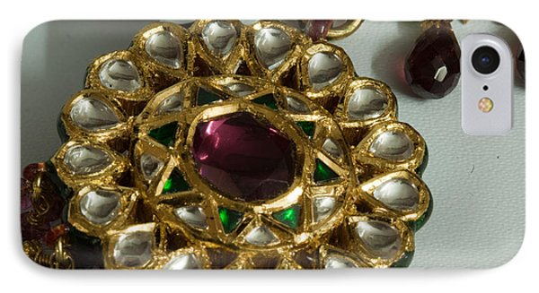 Close Up Of The Gold And Diamond Setting Of A Large Necklace Phone Case by Ashish Agarwal