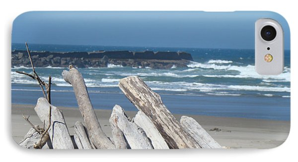 Coastal Driftwood Art Prints Blue Sky Ocean Waves Phone Case by Baslee Troutman