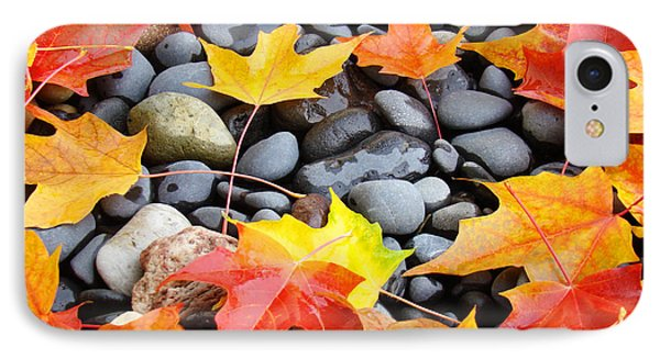 Colorful Autumn Leaves Prints Rocks Phone Case by Baslee Troutman