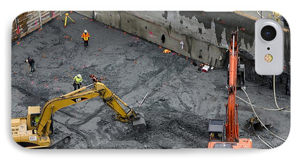 Construction Site Diggers And Workmen In The Foundation Pit Of A New Building Seattle Phone Case by Andy Smy