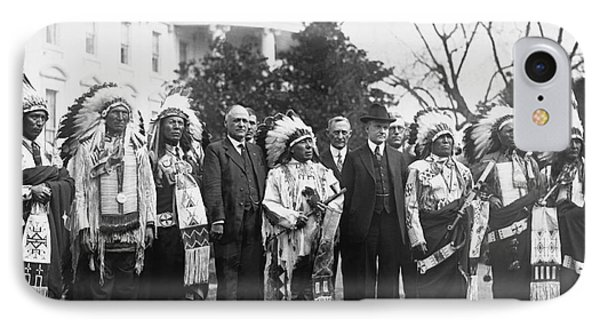 Coolidge With Native Americans IPhone 7 Case by Photo Researchers
