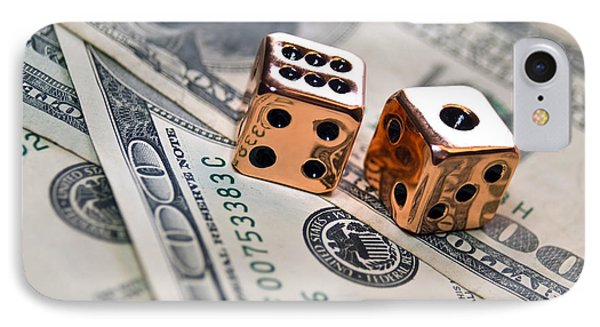 Copper Dice And Money Phone Case by Susan Leggett