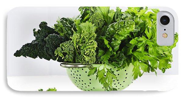Dark Green Leafy Vegetables In Colander IPhone 7 Case by Elena Elisseeva