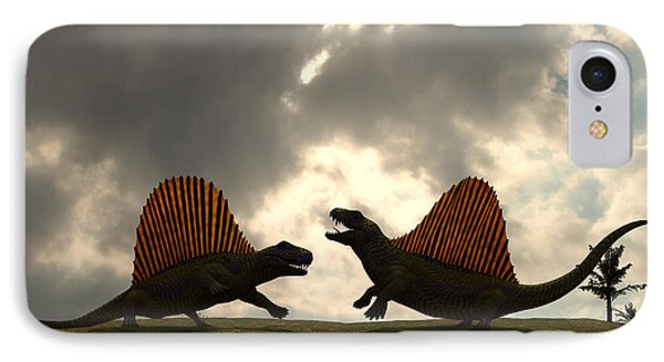 Dimetrodon Fight Over Territory Phone Case by Walter Myers
