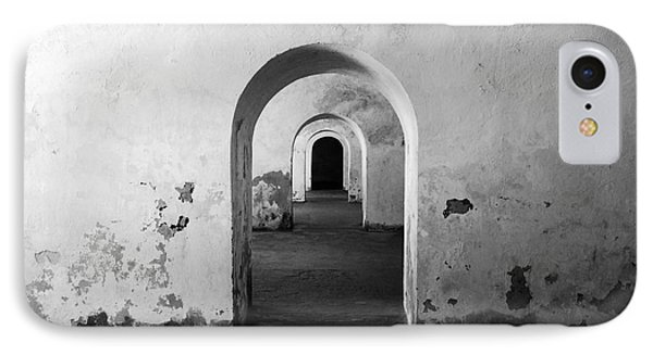 El Morro Fort Barracks Arched Doorways San Juan Puerto Rico Prints Black And White Phone Case by Shawn O'Brien