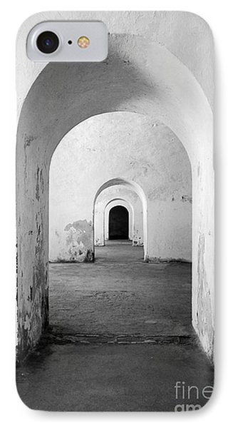 El Morro Fort Barracks Arched Doorways Vertical San Juan Puerto Rico Prints Black And White Phone Case by Shawn O'Brien