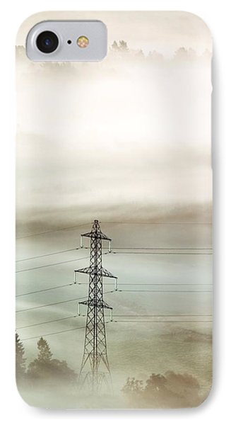 Electricity Pylon In Fog Phone Case by Duncan Shaw