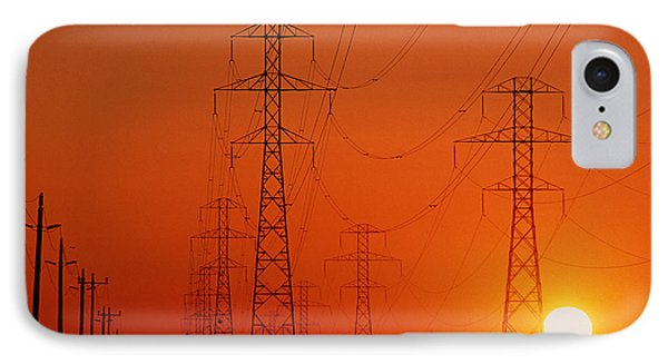 Electricity Transmission Lines At Sunset IPhone Case by David Nunuk