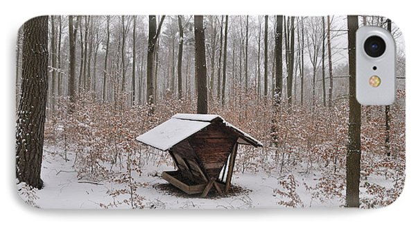 Feed Box In Winterly Forest IPhone Case by Matthias Hauser