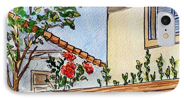 Fence And Roses Sketchbook Project Down My Street Phone Case by Irina Sztukowski
