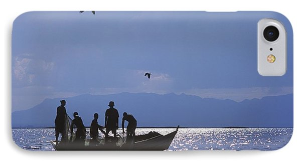Fishermen Pulling Fishing Nets On Small Phone Case by Axiom Photographic