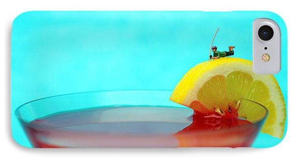 Fishing On A Piece Of Lemon Phone Case by Paul Ge