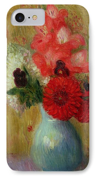 Floral Arrangement In Green Vase Phone Case by William James Glackens