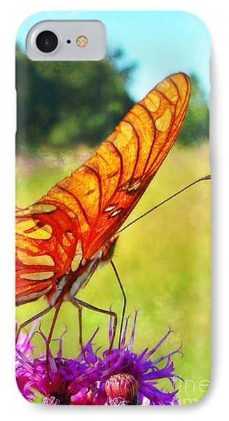 Fritillary On Ironweed Phone Case by Judi Bagwell