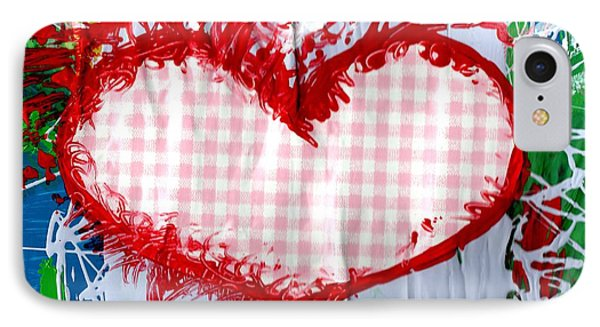 Gingham Crazy Heart Phone Case by Genevieve Esson