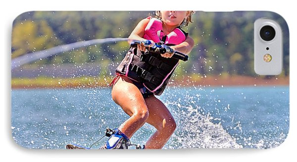Girl Trick Skiing Phone Case by Susan Leggett