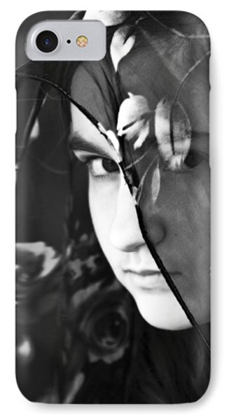Girl With A Rose Veil 2 Bw IPhone Case by Angelina Vick