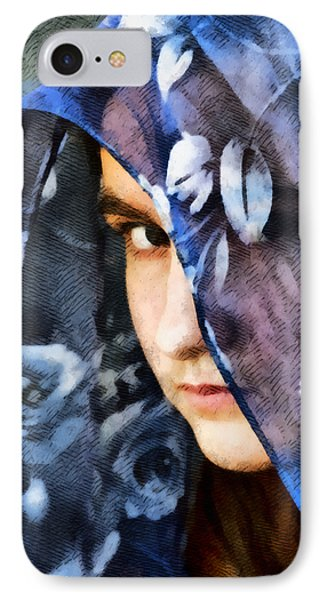 Girl With A Rose Veil 2 Illustration IPhone Case by Angelina Vick