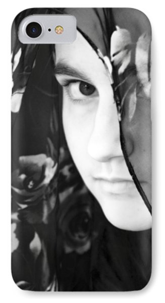 Girl With A Rose Veil 3 Bw IPhone Case by Angelina Vick