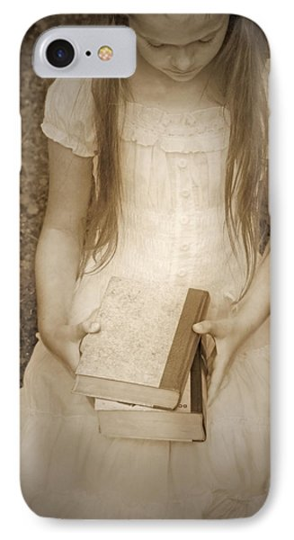 Girl With Books Phone Case by Joana Kruse