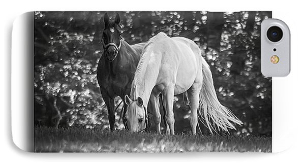 Grazing In Black And White Phone Case by Brian Wallace