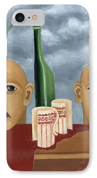 Green Bottle Agony Surrealistic Artwork With Crying Heads Cut Cups Flowing Red Wine Or Blood Frame   Phone Case by Rachel Hershkovitz
