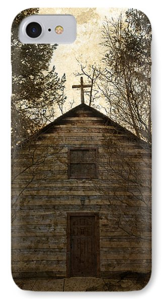 Grungy Hand Hewn Log Chapel IPhone Case by John Stephens