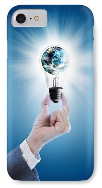 Hand Holding Light Bulb With Globe  Phone Case by Setsiri Silapasuwanchai
