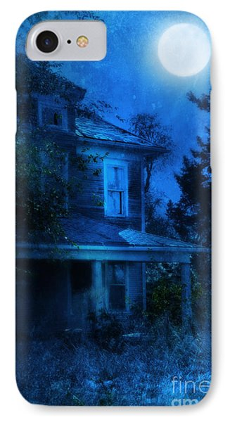 Haunted House Full Moon IPhone Case by Jill Battaglia