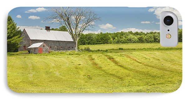 Hay Being Harvested Near Barn In Maine IPhone Case by Keith Webber Jr