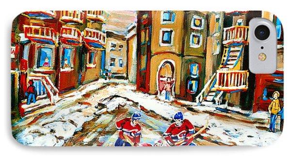 Hockey Art Hockey Game Plateau Montreal Street Scene Phone Case by Carole Spandau