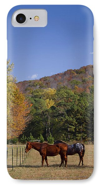Horses And Autumn Landscape Phone Case by Kathy Clark