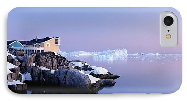 Houses On The Coastline With Icebergs Phone Case by Axiom Photographic