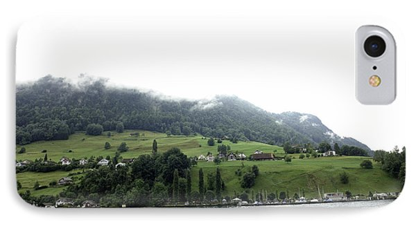 Houses On The Greenery Of The Slope Of A Mountain Next To Lake Lucerne Phone Case by Ashish Agarwal