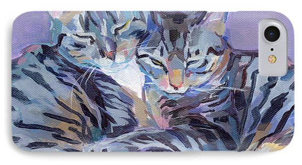 Hugs Purrs And Stripes IPhone Case by Kimberly Santini