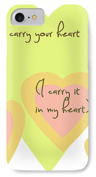 I Carry Your Heart I Carry It In My Heart - Yellow And Peach IPhone Case by Georgia Fowler