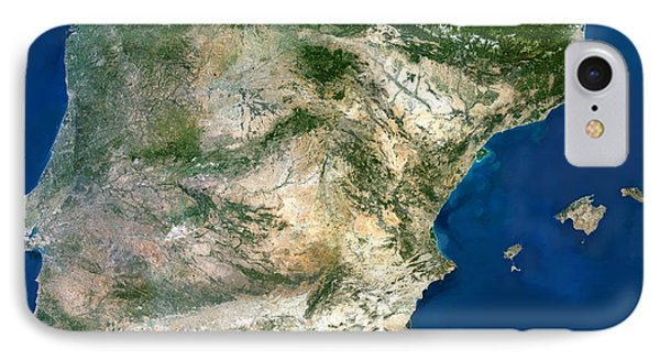 Iberian Peninsula, Satellite Image IPhone Case by Planetobserver