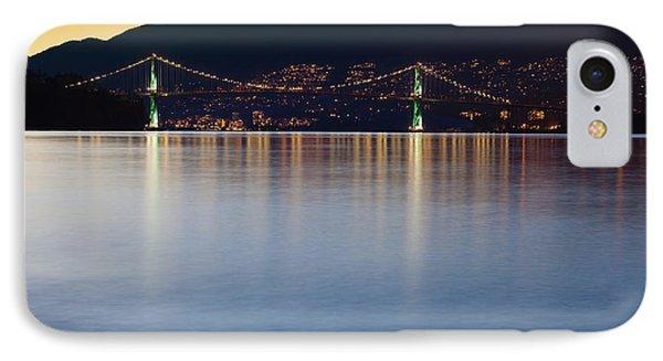 Illuminated Bridge Across A Bay Phone Case by Bryan Mullennix
