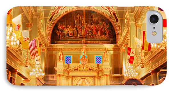 Inside St Louis Cathedral Jackson Square French Quarter New Orleans Accented Edges Digital Art Phone Case by Shawn O'Brien