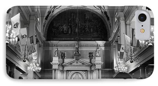 Inside St Louis Cathedral Jackson Square French Quarter New Orleans Black And White Phone Case by Shawn O'Brien