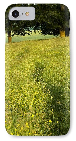 Ireland Trail Through Buttercup Meadow Phone Case by Peter McCabe
