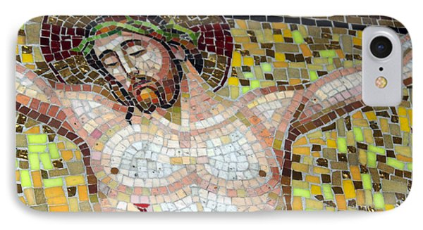 Jesus On The Cross Mosaic Phone Case by Munir Alawi