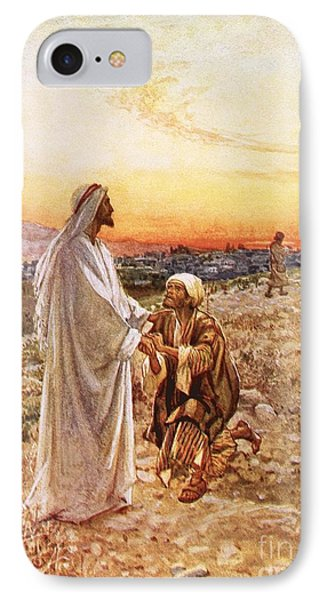 Jesus Withe The One Leper Who Returned To Give Thanks IPhone Case by William Brassey Hole