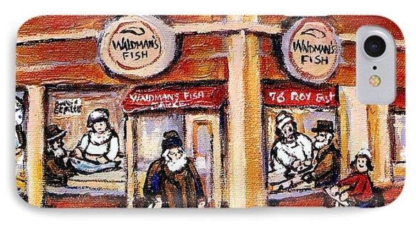 Jewish Montreal Vintage City Scenes Fish Market On Roy Street Phone Case by Carole Spandau
